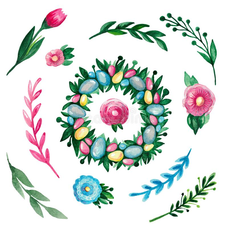 Easter set of watercolor elements Wreath eggs flowers branches on white isolated background vector illustration