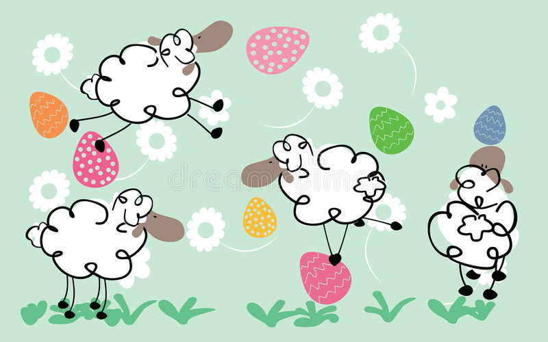 Download Easter sheeps stock vector. Illustration of meadow, grass - 8895373