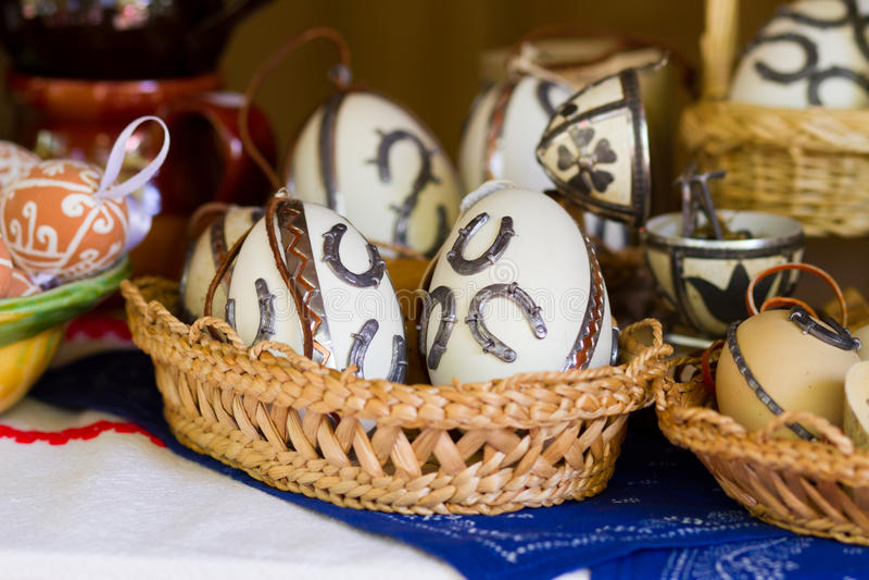 Easter shod eggs. On basket royalty free stock photo