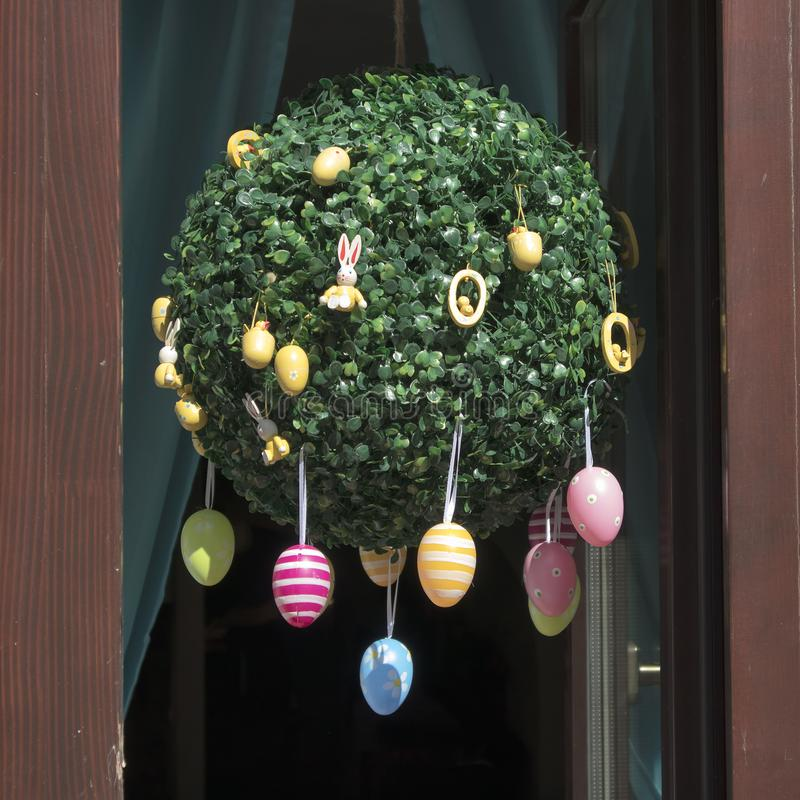 Easter showcases in the old town, decorated with eggs, souvenirs and willows stock images