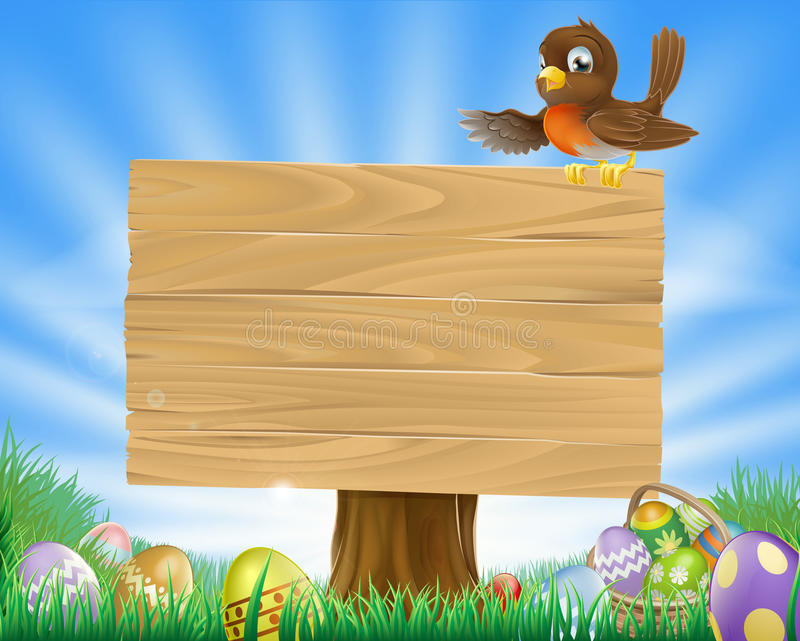 Easter sign with bird and eggs royalty free illustration