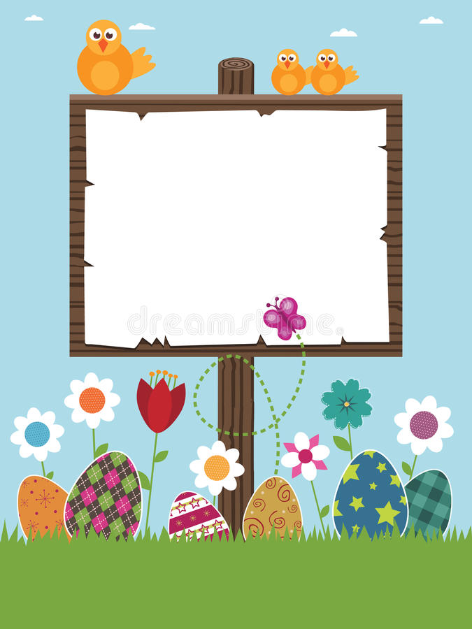 Easter sign post. Ready for your text with eggs, flowers and chicks