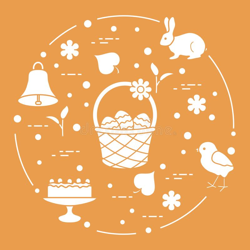 Free Easter. Simnel Cake, Basket, Eggs, Bell, Chick. Royalty Free Stock Images - 128009179