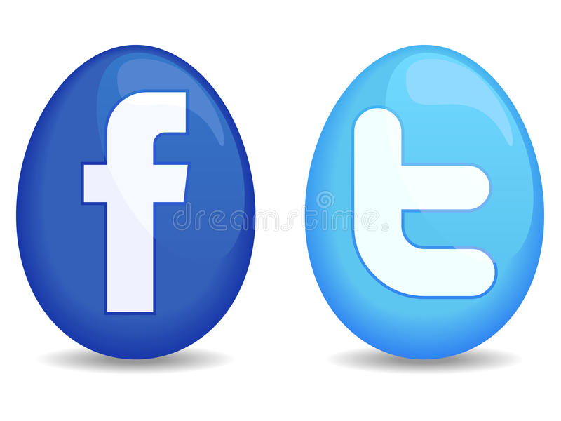 Easter Social Icons. A pair of Easter egg shaped icons / buttons for Twitter and Facebook
