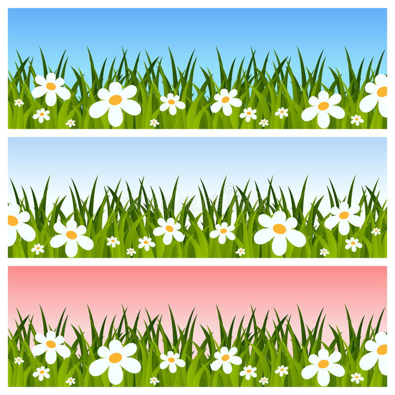 Easter or Spring Banners. Collection of Easter or spring banners with green grass and flowers, in three different versions. Eps file available