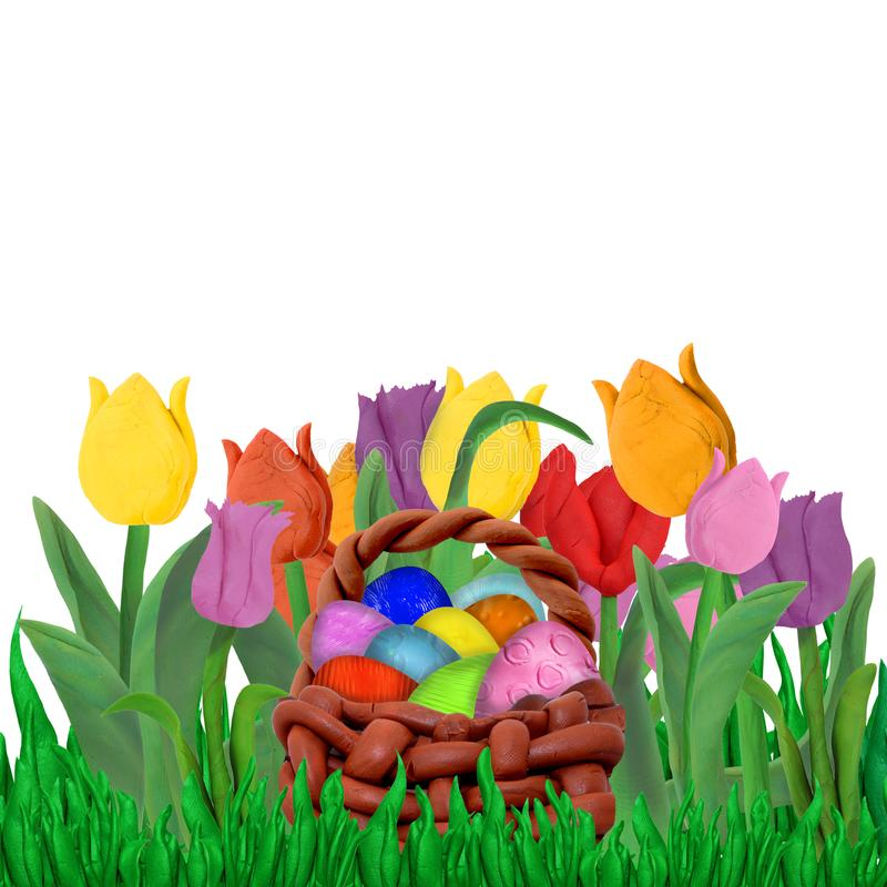 Easter Spring greeting card template with tulips and grass border isolated on white background stock illustration