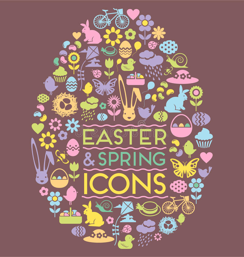 Easter and spring icons in an egg shape stock illustration