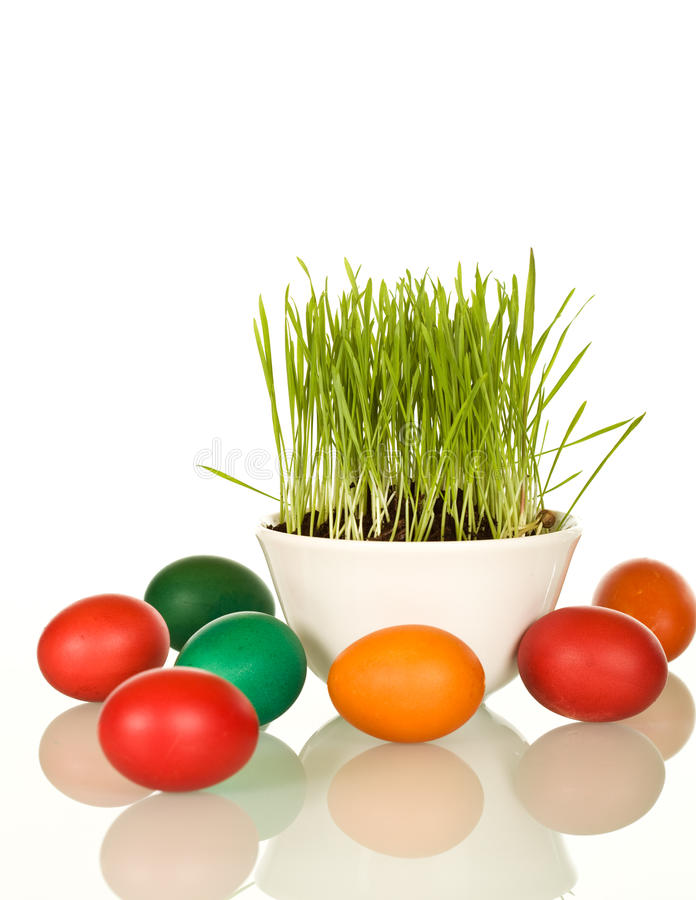 Download Easter And Spring Symbols - Grass And Dyed Eggs Stock Image - Image: 13096795