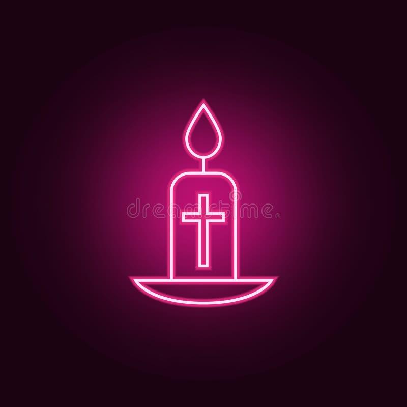 easter stearinljussymbol Beståndsdelar av påsken i neonstilsymboler Enkel symbol för websites, rengöringsdukdesign, mobil app, in stock illustrationer