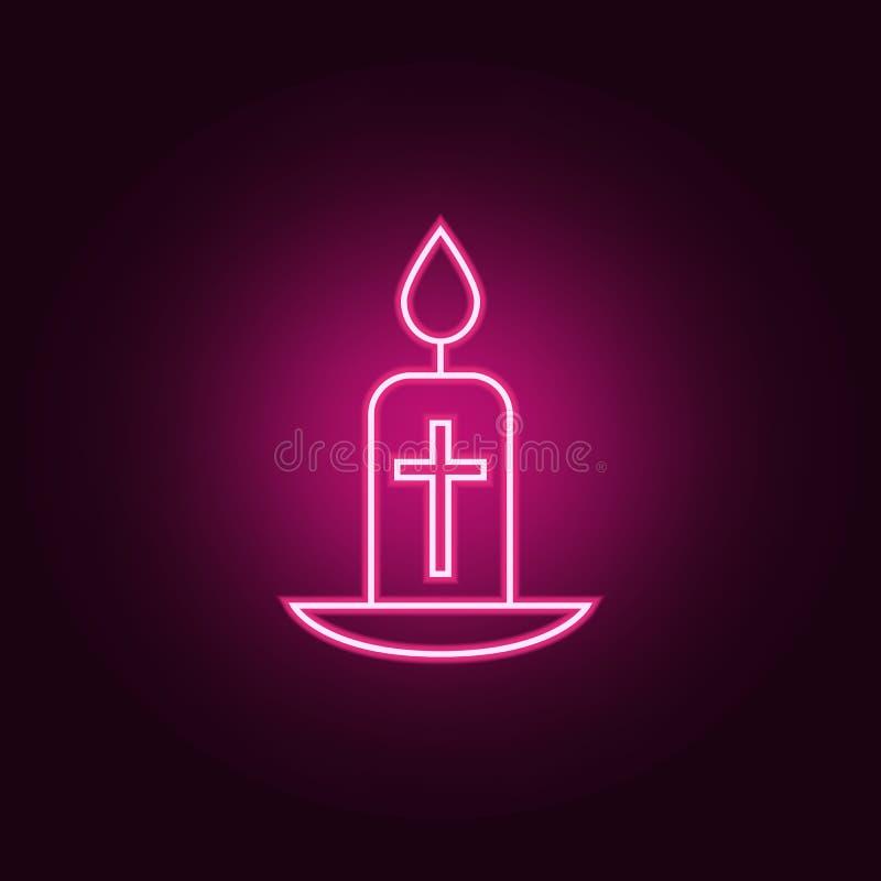 easter stearinljussymbol Beståndsdelar av påsken i neonstilsymboler Enkel symbol för websites, rengöringsdukdesign, mobil app, in royaltyfri illustrationer