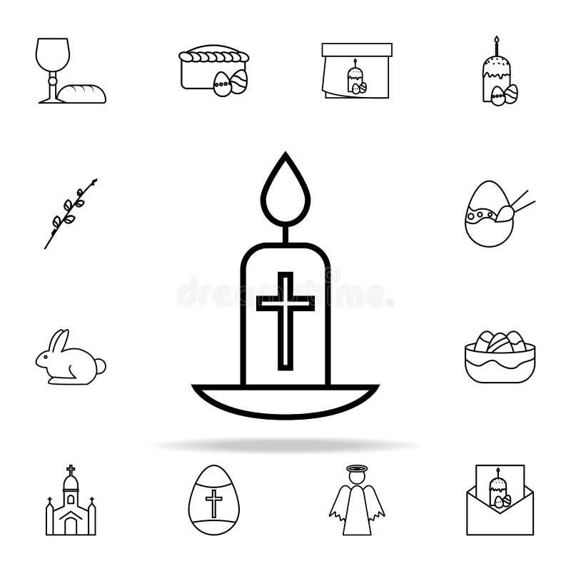 easter stearinljussymbol Universell uppsättning för påsksymboler för rengöringsduk och mobil stock illustrationer