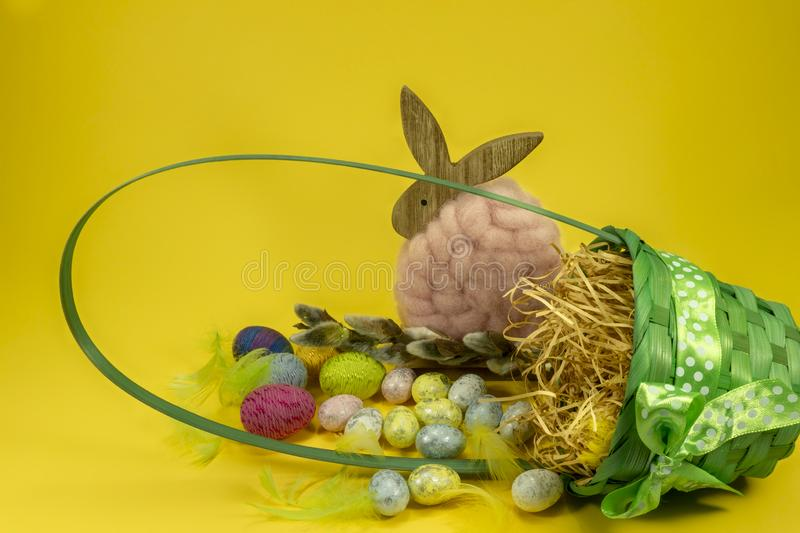 Easter still life or card design stock photography