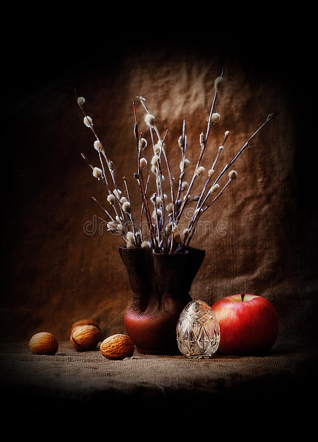 Easter still life with willow. Photo of Easter still life with willow stock photography