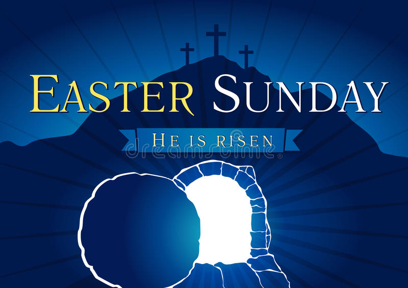 Easter Sunday Holy Week tomb and cross card. Easter Sunday, He is risen. Greetings, invite vector blue color template. Sunrise, open lighting empty cave, rock royalty free illustration