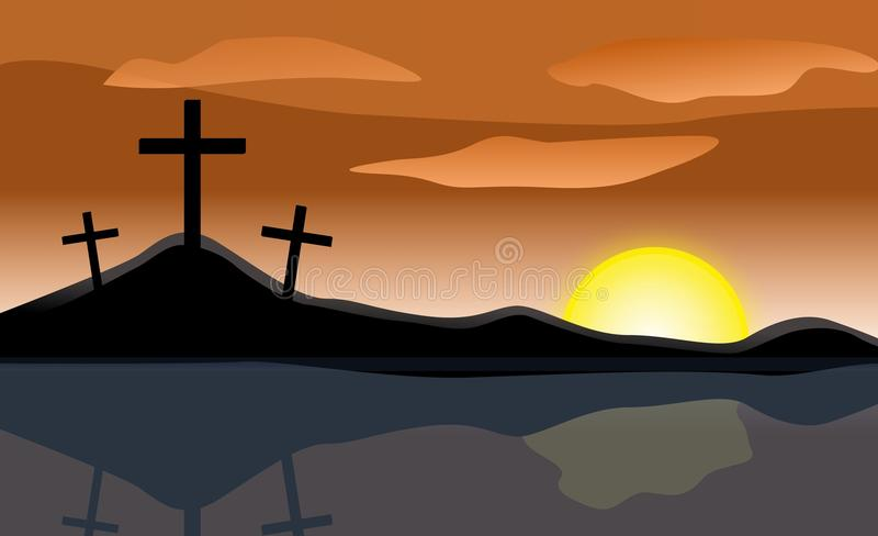 Download Easter Sunrise Three Crosses Stock Illustration - Image: 22316535