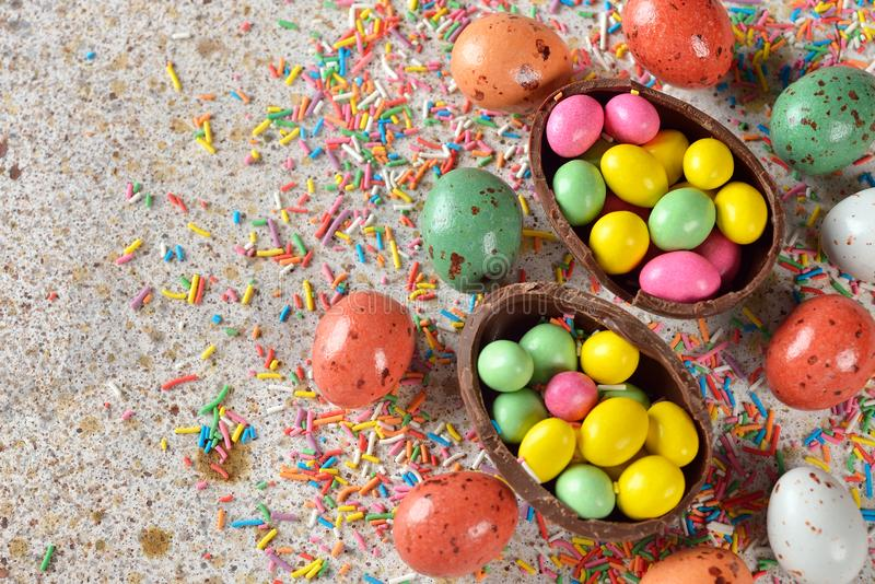 Easter sweets close up. Easter sweets on a brown background royalty free stock photos