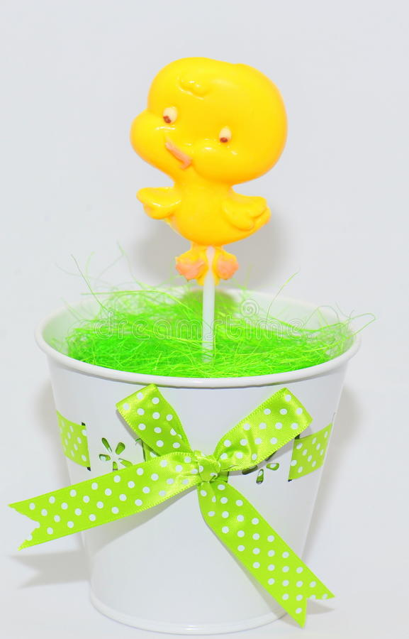 Easter sweets - chocolate duckling stock image