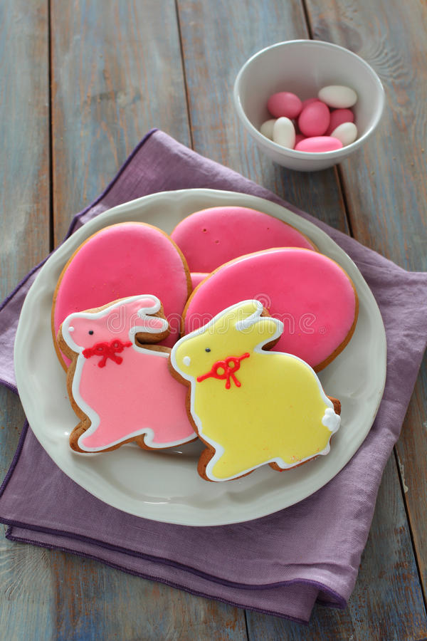 Easter sweets on a rustic table royalty free stock photos