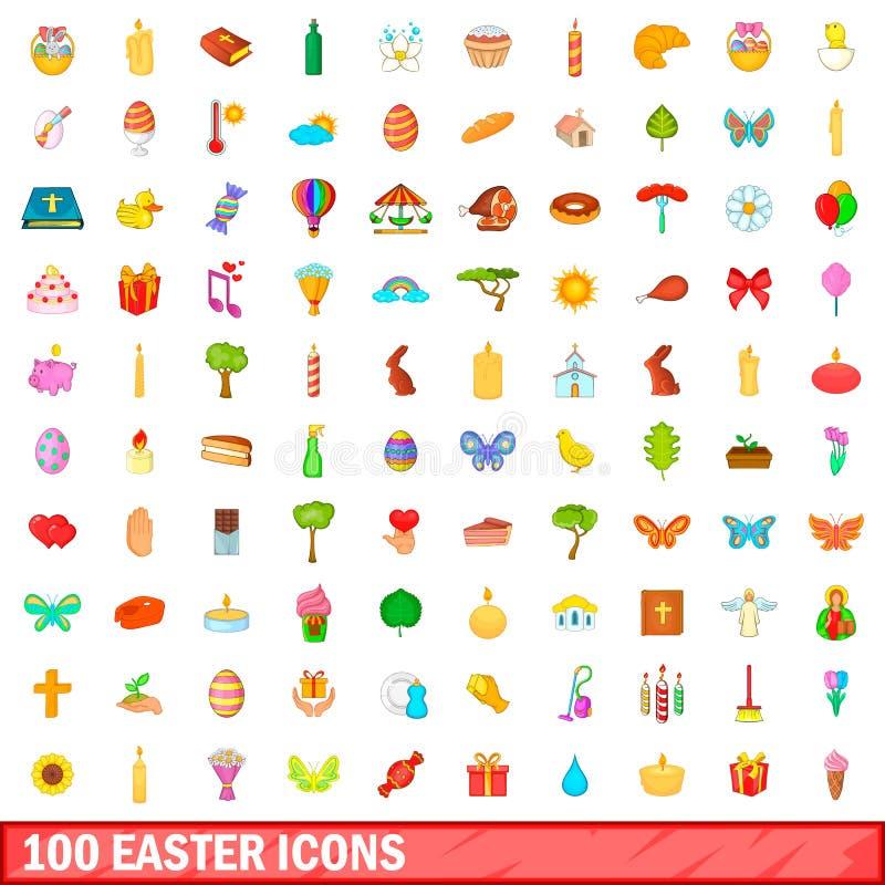 100 easter symboler uppsättning, tecknad filmstil vektor illustrationer