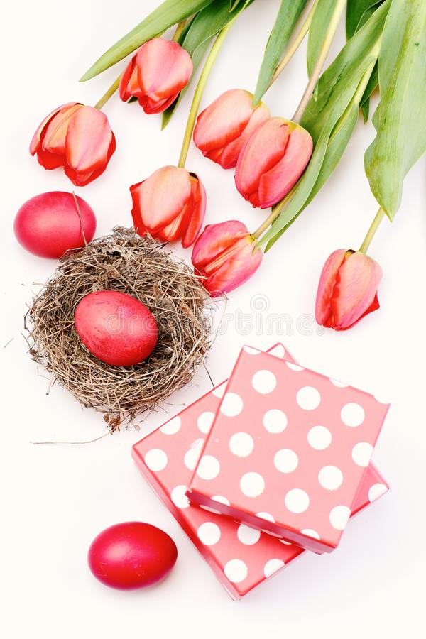 Easter symbols concept. Bouquet of spring tulips for holiday. Tulips in pink or red colors isolated on white background. Bunch of flowers near pink polka stock photo