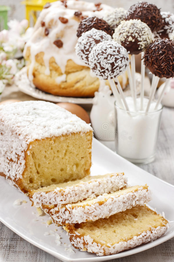 Easter table with cakes royalty free stock photography