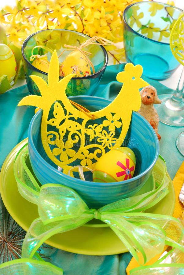 Easter table decoration stock photo