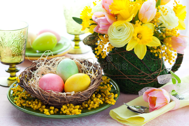 Download Easter table setting stock photo. Image of blossom, bunch - 23279952
