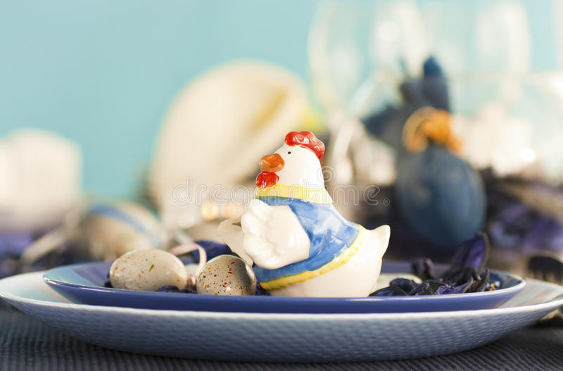 Easter table setting in blue and white royalty free stock photos