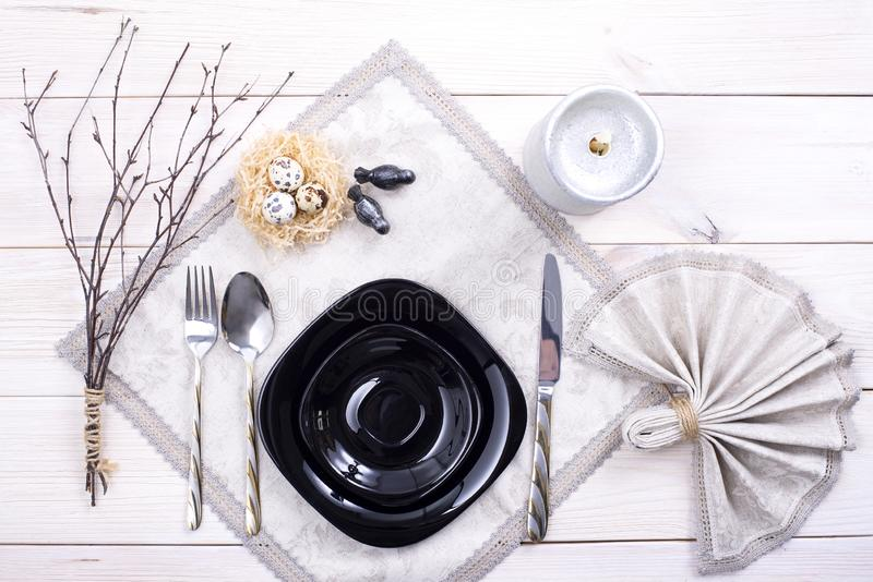Easter table setting. Holiday Decorations royalty free stock image