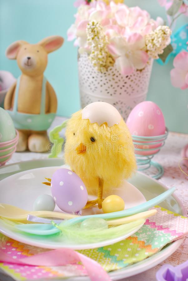 Easter Table Setting For Kids In Pastel Colors Stock Image - Image ...