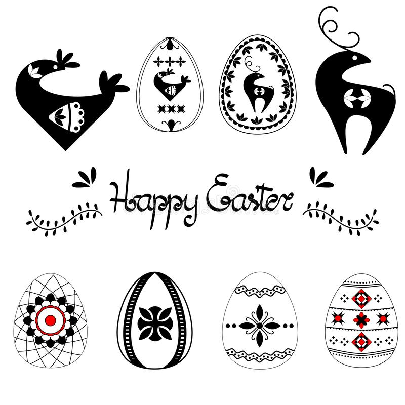 Easter template set with easter eggs hand drawn letters and leaves, black on white background. Decorative elements collection with royalty free illustration