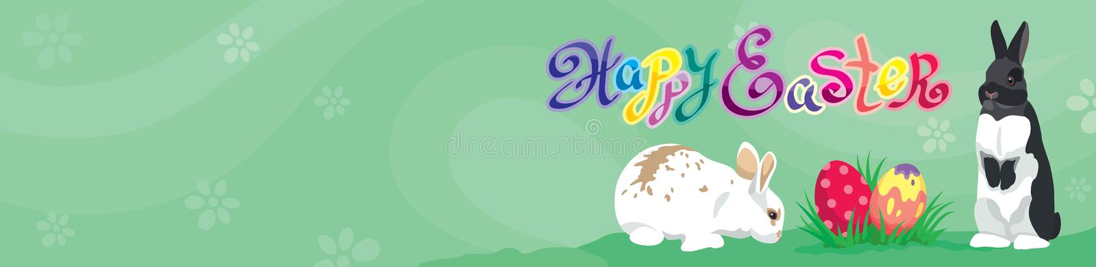 Easter template Web banner Header with Happy Easter text. Easter rabbits, colorful Easter eggs and copy blank space royalty free illustration