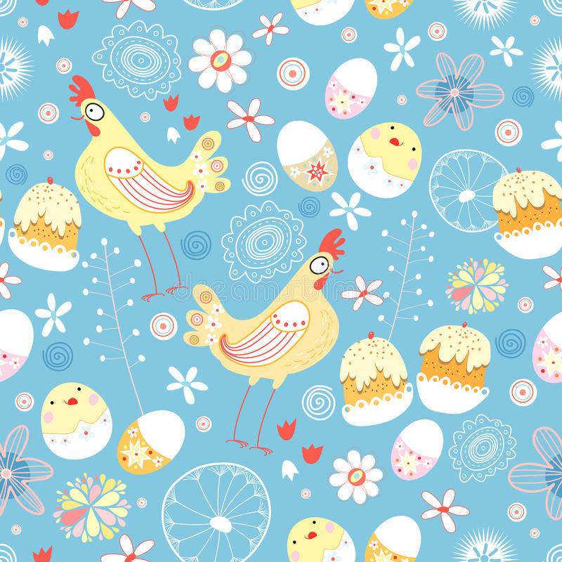 Easter texture. Of chicken eggs and pies on a blue background vector illustration