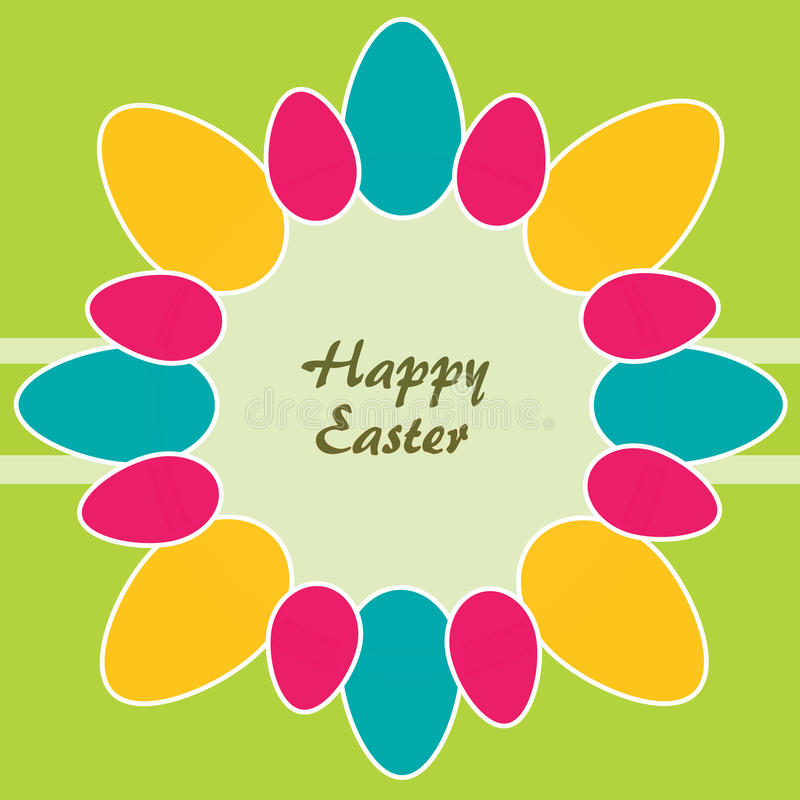 Easter theme. Circle of colored Easter eggs stock illustration