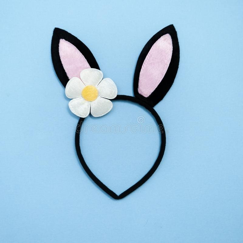 Easter theme. Decorated  bunny ears on a blue background. Minimalism, View from above royalty free stock photography