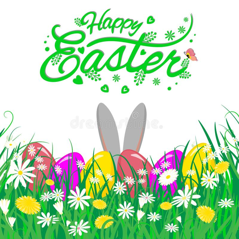 Easter theme with ears of bunny and eggs in grass and flowers, vector illustration. stock photo