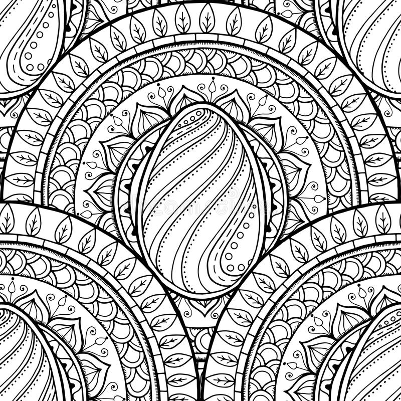Easter theme mandala with doodle egg. Ethnic floral pattern. Black and white design. Henna paisley tribal seamless background vector illustration