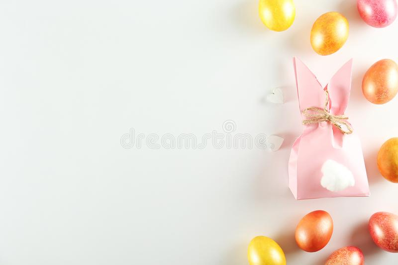 Easter themed background with symbolic holiday accessories stock photography