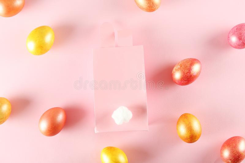 Easter themed background with symbolic holiday accessories royalty free stock image