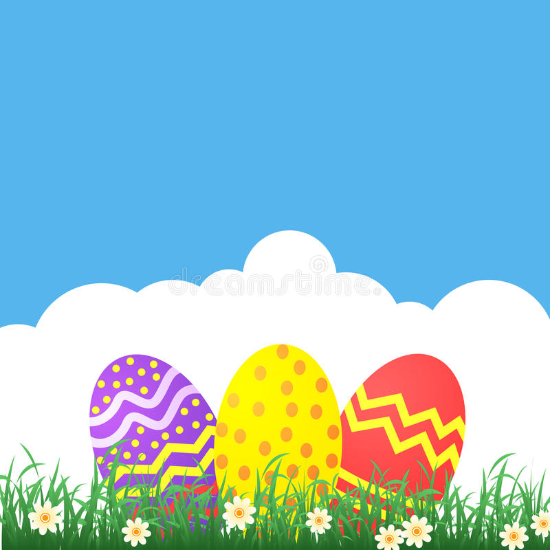 Easter themed banner with decorated eggs and grass royalty free illustration