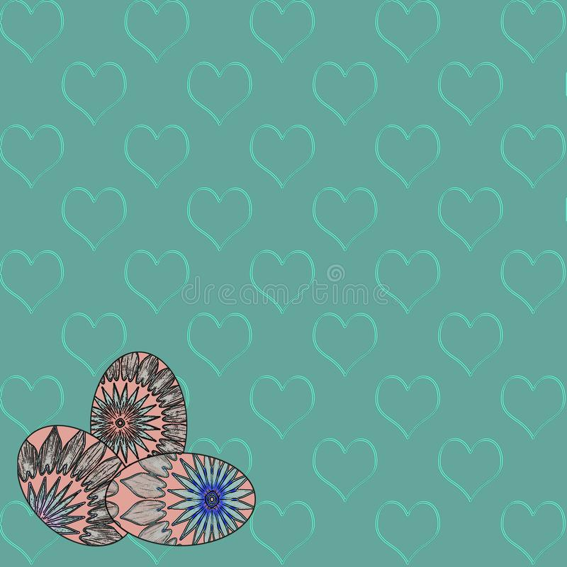 Easter Themed Holiday Background with Eggs and Hearts royalty free illustration