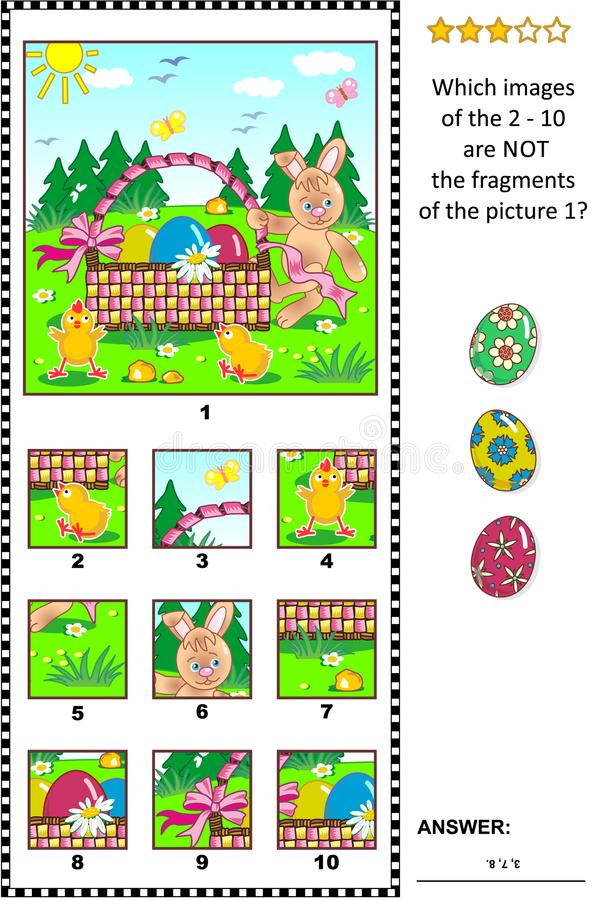 Easter themed picture riddle with Easter bunny, eggs, chicks and basket - what does not belong? stock illustration