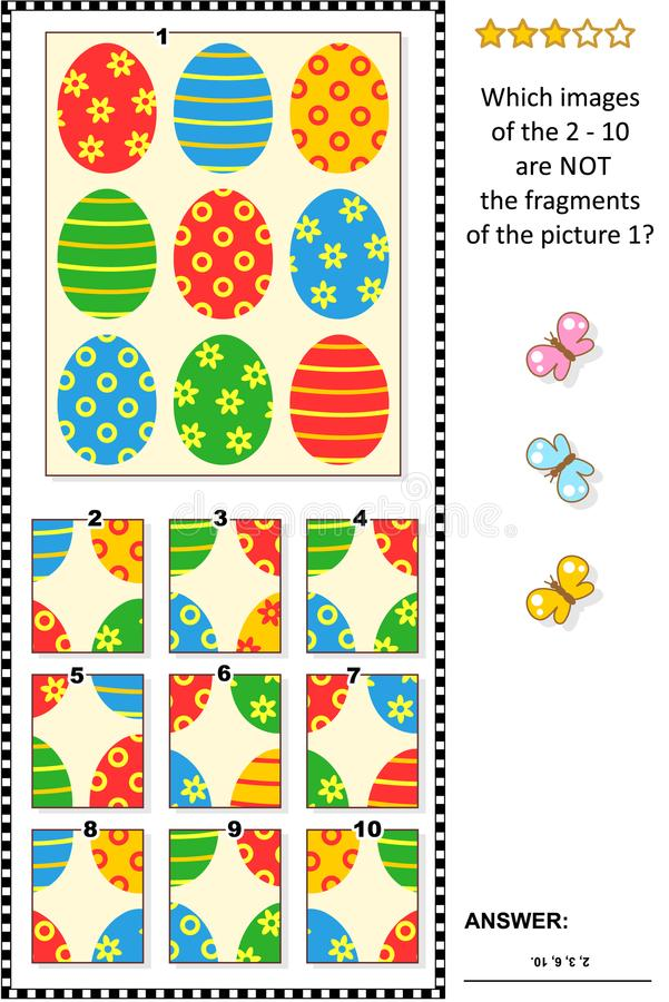 Easter themed picture riddle with painted eggs pattern - what does not belong? stock illustration