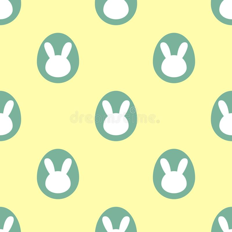 Easter themed seamless pattern: Green easter bunny eggs on yellow packground stock illustration