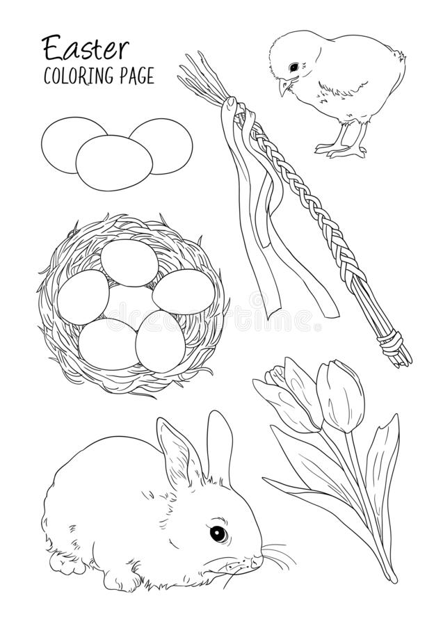 Easter themed vector coloring page with illustrations of bunny, tulips, easter eggs and whip vector illustration