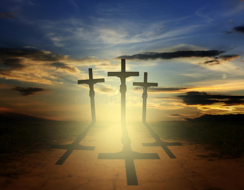 Easter three crosses. Abstract of easter cross on the road in the evening royalty free stock photo