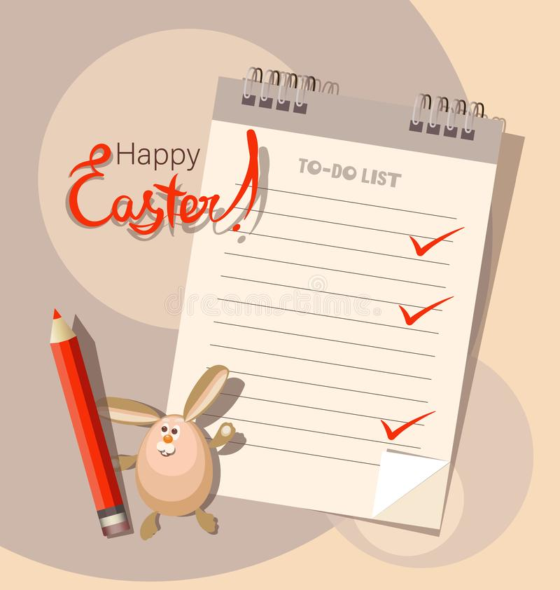 Easter to-do list and fun bunny. Happy easter. vector illustration