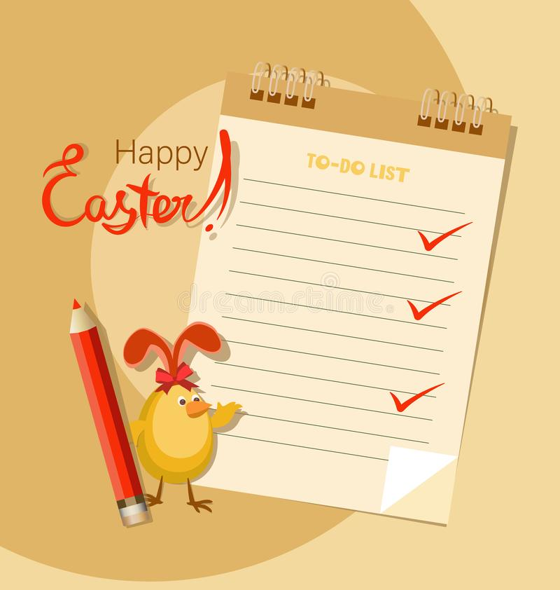 Easter to-do list and rabbit chicken. Happy easter. vector illustration