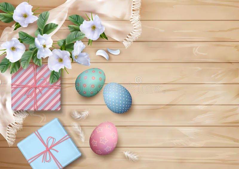 Easter Top View Background. With white flowers, gifts, silk scarf, feathers and painted eggs stock illustration