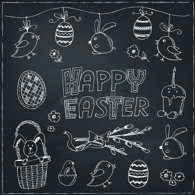 Easter traditional doodle symbols set. Eggs, bunny, basket, chicken, cake. Vector drawings set on white background stock illustration